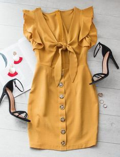 Bold And Beautiful Tie-Front Button Dress – Mustard