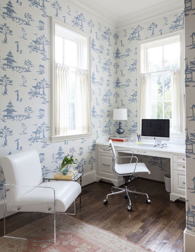 Home office with wallpaper by Cynthia Collins