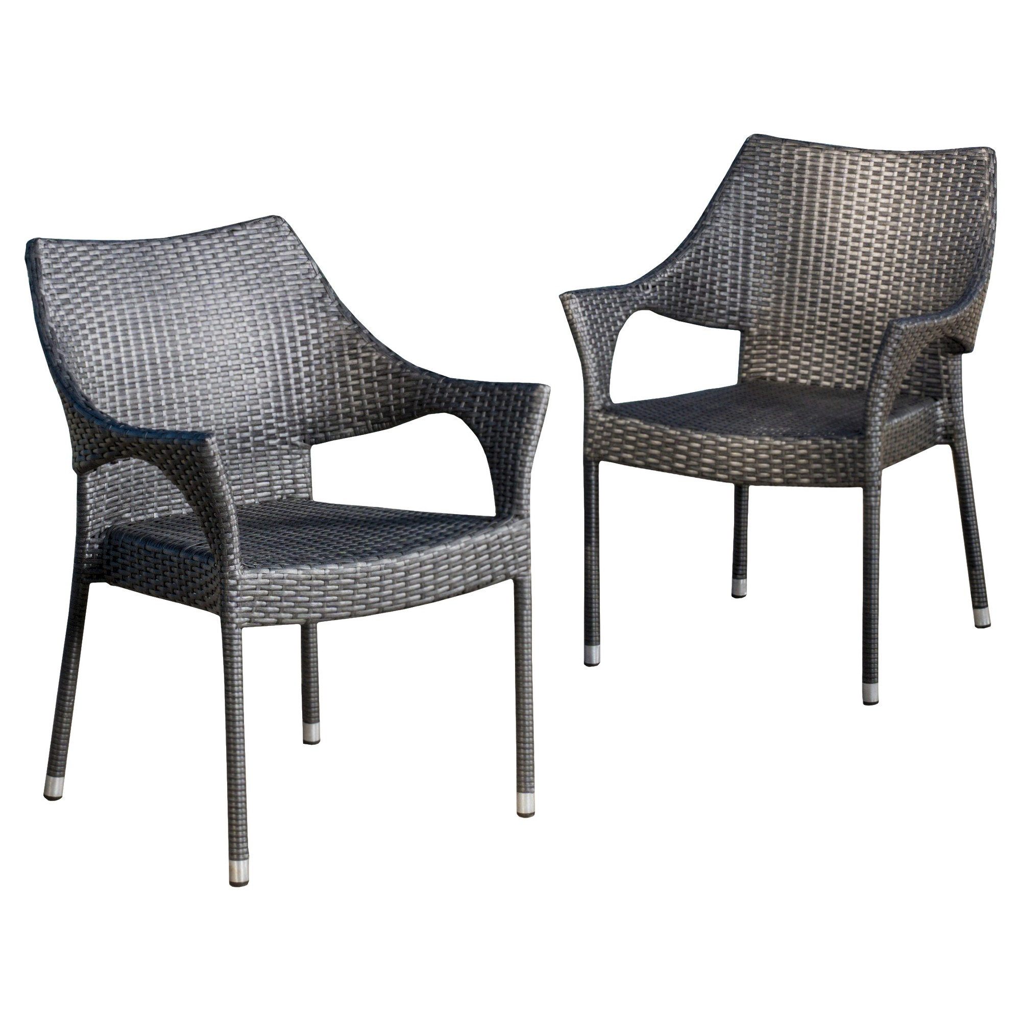 wicker patio chair set of 2 orthopedic desk cliff chairs gray christopher knight home