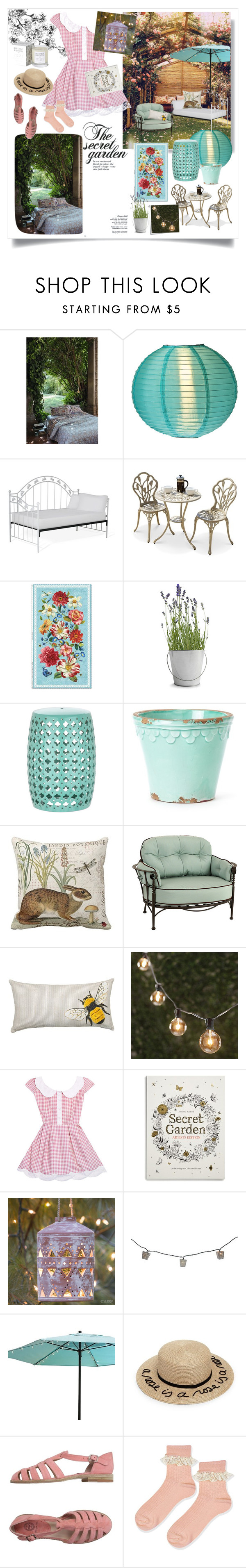 """The Secret Garden"" by helena-myers on Polyvore featuring interior, interiors, interior design, Casa, home decor, interior decorating, Zucchi Collection, Cultural Intrigue, Potting Shed Creations e Ballard Designs"