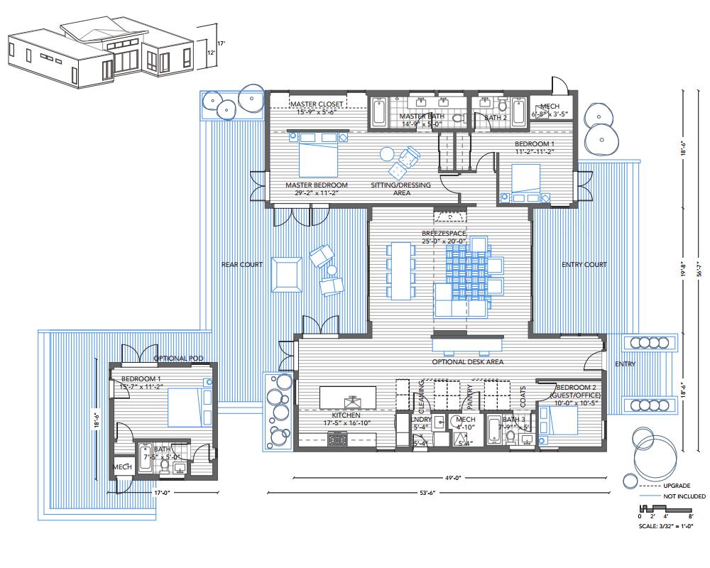 Blu Homes Breezehouse prefab home three bedroom floor plan. | Floor ...
