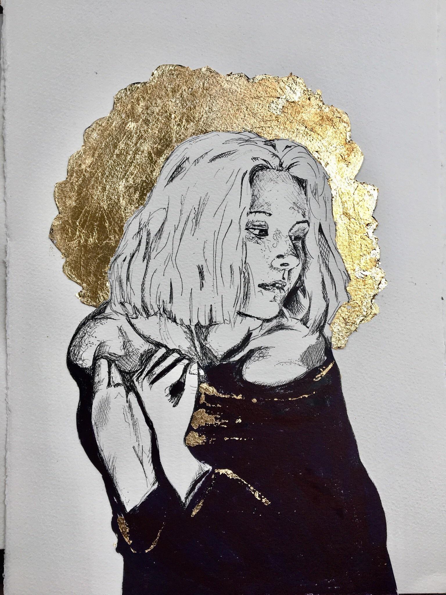 Muse Pen And Gold Leaf 30x50cm Gold Leaf Art Art Art Inspiration