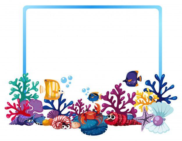 Plantilla De Borde Con Peces Y Arrecifes De Coral Arrecifes De Coral Coral Bordes