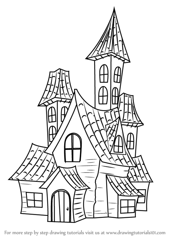 Learn How to Draw a Spooky Haunted House (Halloween) Step