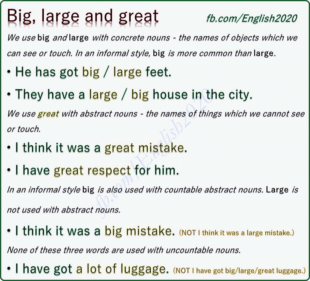 Vocabulary Big Large And Great