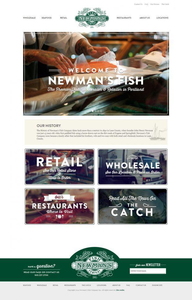 Newmans Fish Company Eugene Portland Oregon Finest Fresh Fish Html5 Css3 Restaurant Website F Web Design Restaurant Website Design Web Development Design
