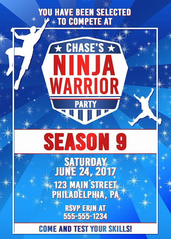 Ninja Warrior Party Ninja Warrior Invitation Anw