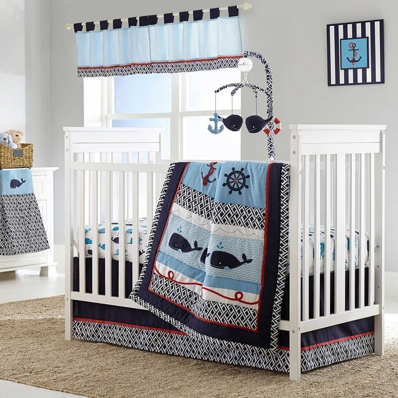 Attractive Nautical Sailing Whales Ocean Baby Boys Nursery 4 Piece Infant Crib Bedding  Ebay From BabySuperMall Store