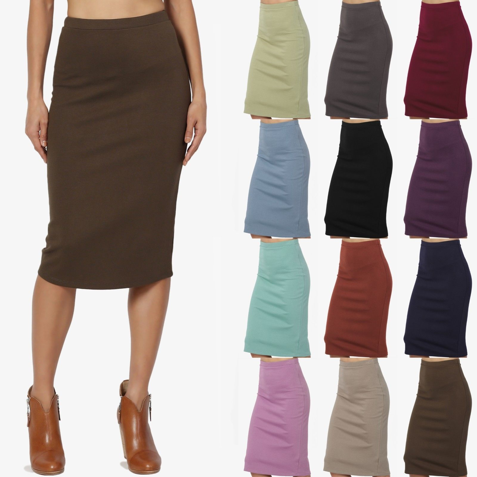 TheMogan Womens Elastic High Waisted Knee Length A-line Pleated Knit Midi Skirt