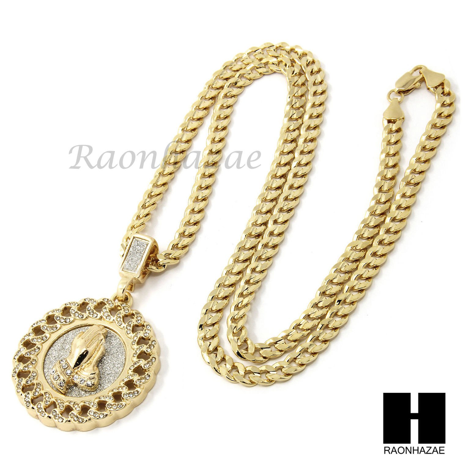 Mens Hip Hop Gold Praying Hands Round Pendant 24 With Images Necklace Hip Hop Jewelry Round Pendant