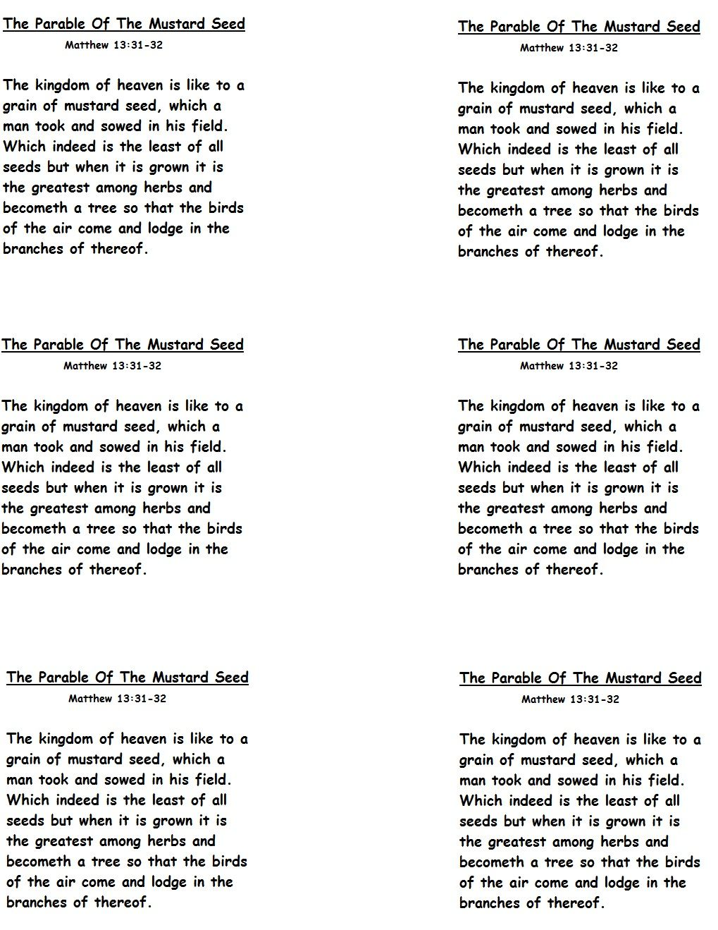 The Parable Of Mustard Seed Template 1019x1319 Pixels