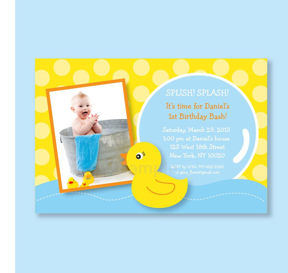 Boy rubber ducky duck photo birthday invitation printable print your boy rubber ducky duck photo birthday invitation printable print your own filmwisefo Image collections