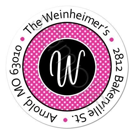 Polka Dot Address Label design. Personalized stickers by partyINK.