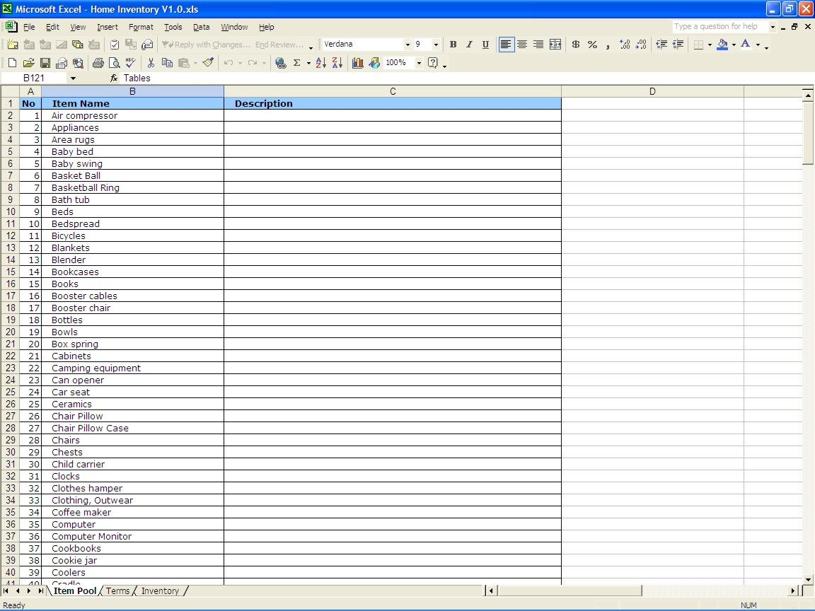 Home Inventory Item Budget Spreadsheet Excel List Template