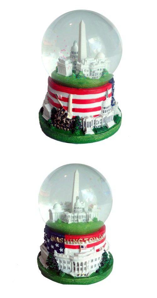 "Famous Buildings of Washington, D.C. Snow globe with Flag (2.5"" Diameter)"