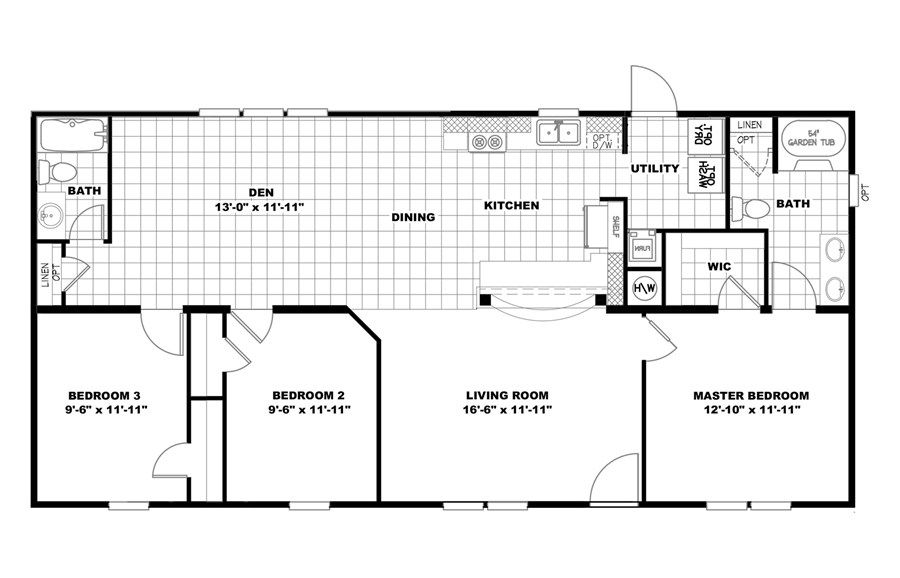 Oakwood Homes Floor Plans floorplan 2552 52x25 ck3+2 tps mod | 58tps25523am | oakwood homes
