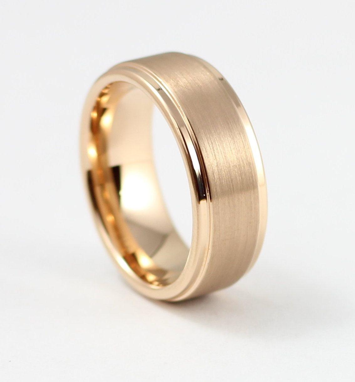 Beautiful Rose Gold Men S Wedding Band 8mm Men S Ring Tungsten Carbide Ring Free Engraving Comfort Fit Sizes 7 15 Mens Gold Wedding Band Rose Gold Mens Wedding Band Mens Wedding Rings