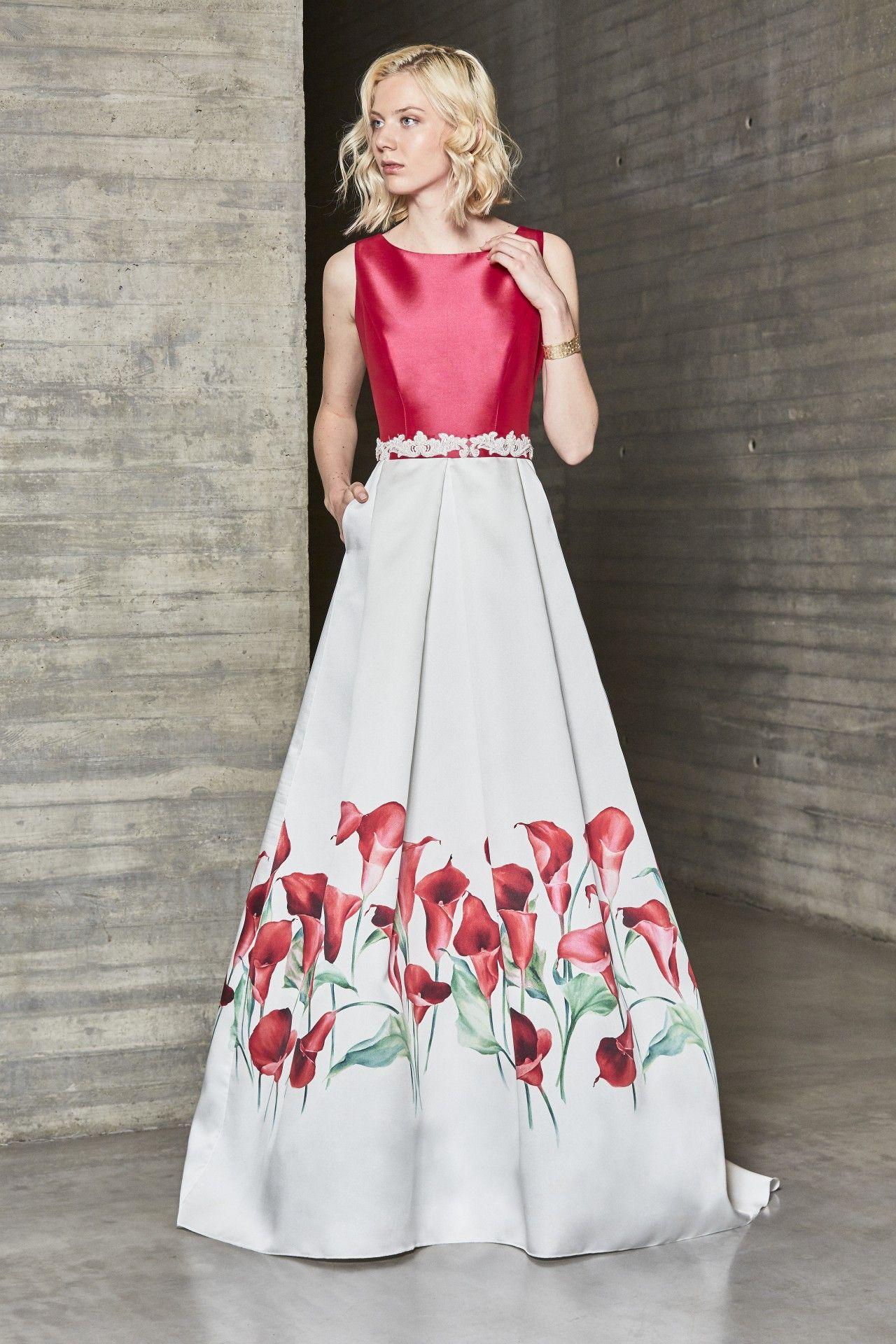 edbdc5b9e Vestido de fiesta largo para boda, estampado en tonos cálidos,con ...