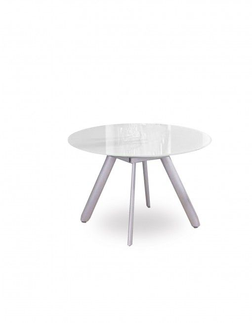 Compact Butterfly Round Glass Extending Table