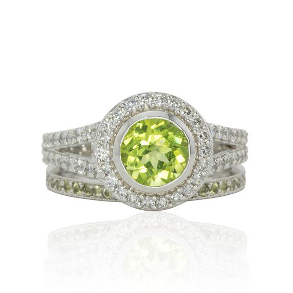 Lime Green Peridot And Diamond Split Shank Engagement Ring With Wedding Band Ls4064