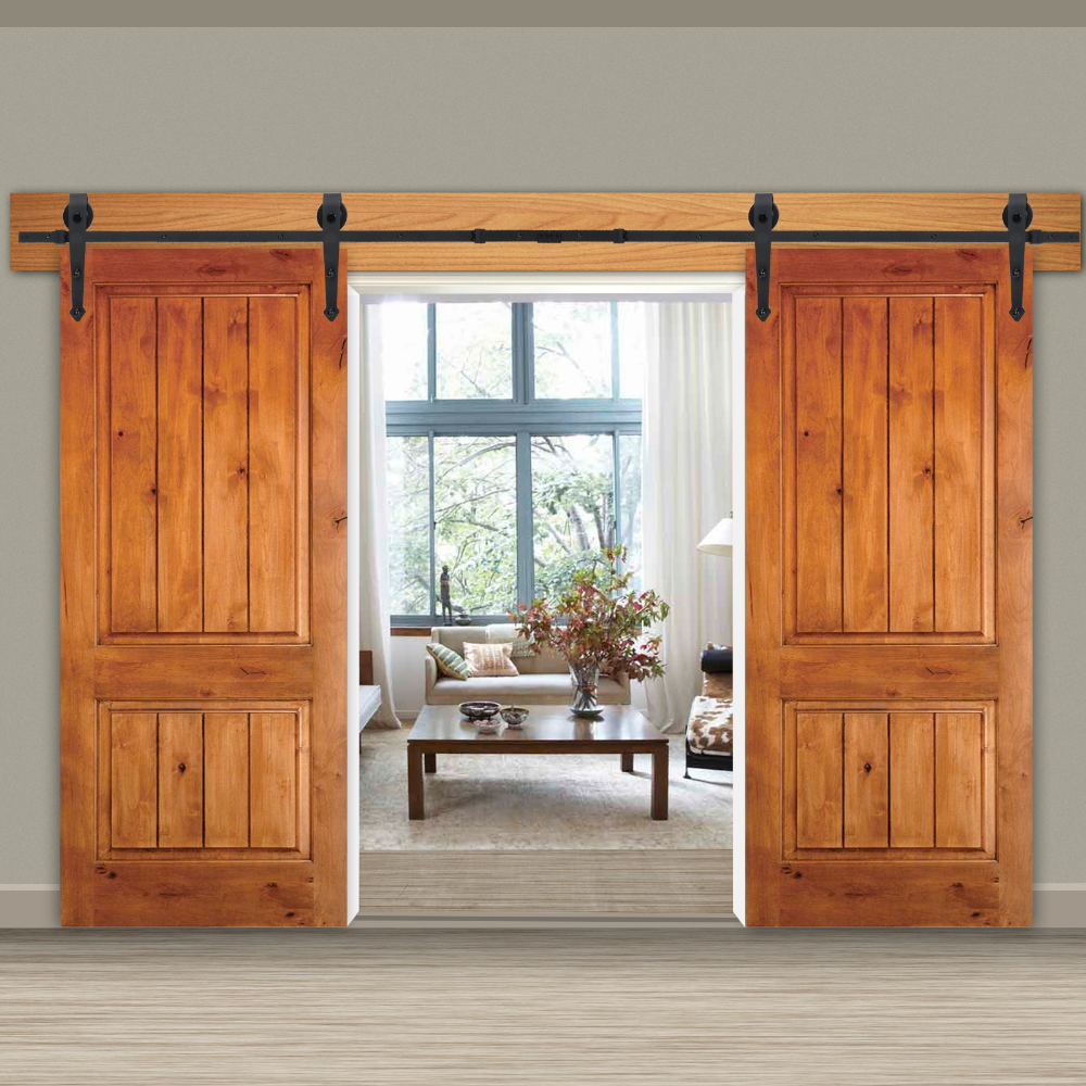 Zeny 12ft Double Door Sliding Barn Door Hardware Kit Smoothly And Quietly Easy To Install Double Tr Inside Barn Doors Barn Door Sliding Barn Door Hardware
