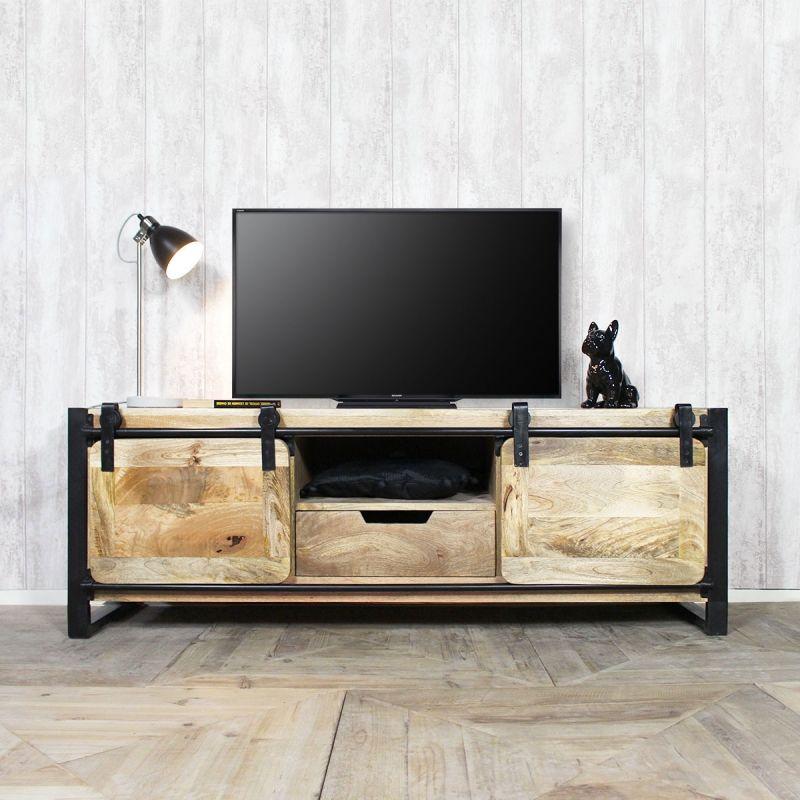 Meuble Tv Industriel New York 2 Portes Mobilier De Salon Meuble Tv Industriel Meuble Tv