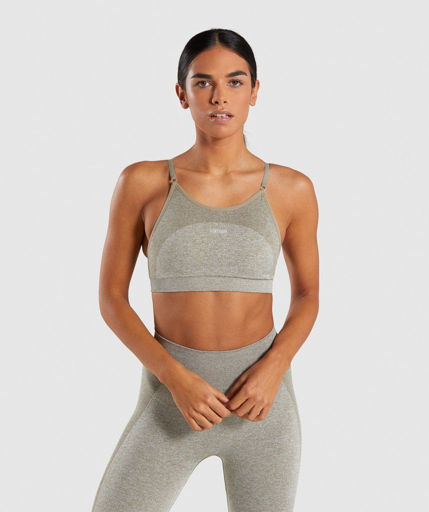 cc6e9d2ff83fc Gymshark Flex Strappy Sports Bra - Washed Khaki Marl Blush Nude