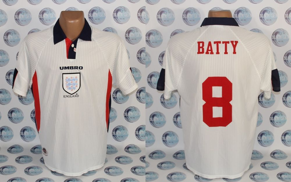 England National Team 1997 1999 8 Batty Home Football Soccer Shirt Jersey Xl Umbro England