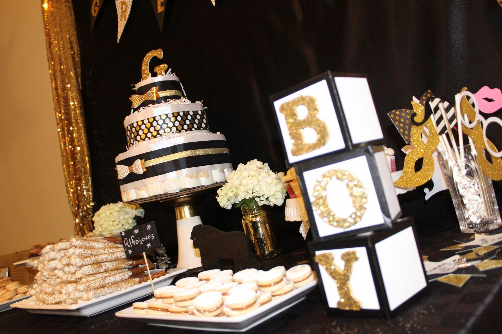 Black And Gold Baby Shower Black Gold Baby Shower Boy Baby Shower Themes Gold Baby Shower Decorations