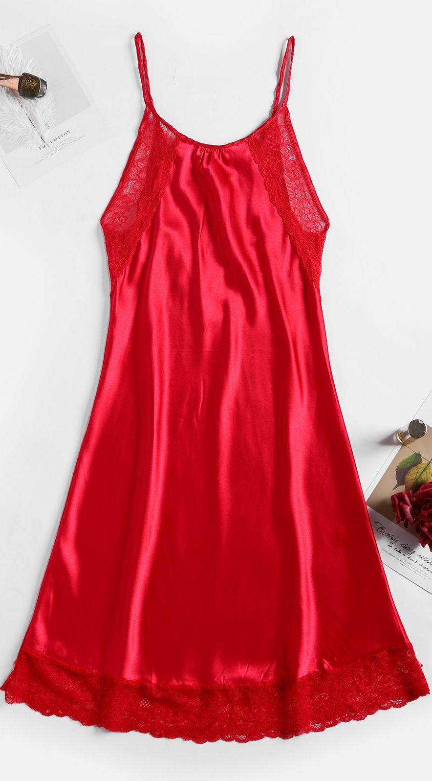 Floral Lace Criss Cross Satin Night Dress Lace Back Dresses Night Dress Summer Dresses For Women [ 1596 x 884 Pixel ]