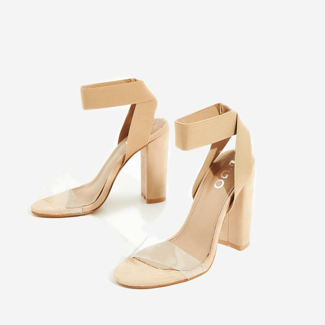 8f1c385669ade Tory Perspex Detail Block Heel In Nude Faux Suede | EGO | Shoe ...