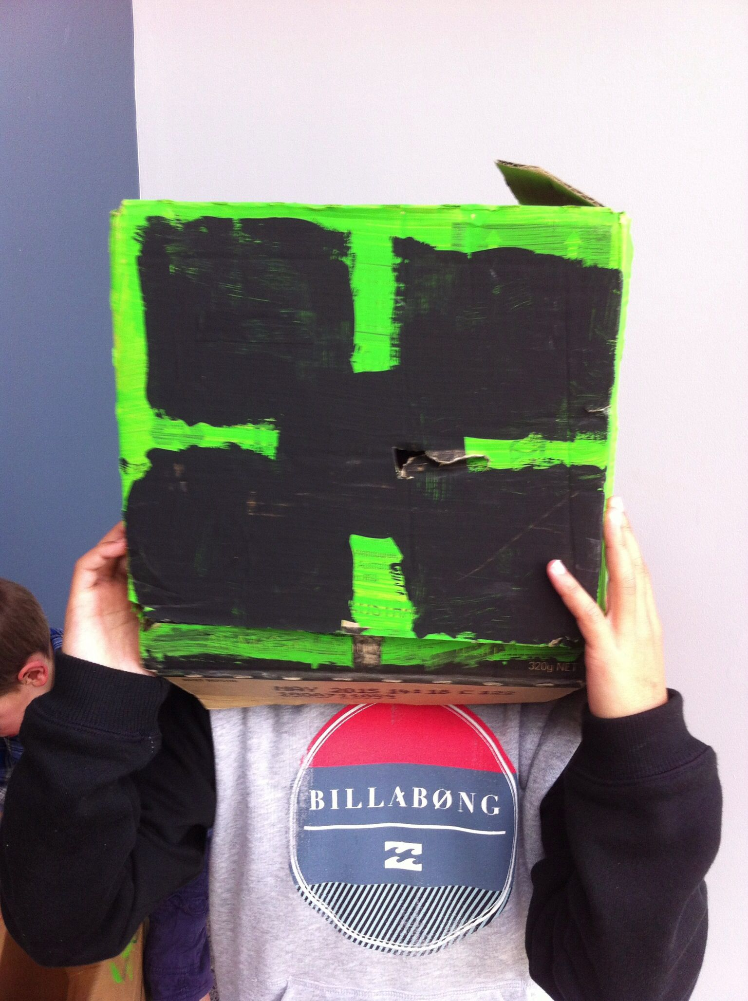 The left over head of our creeper who was in the relay obstacle course game.  The boys LOVED this game, but sadly the creeper not so much:(  N.B I know the face isn't strictly correct, but that's what happens when little kids want to help paint!