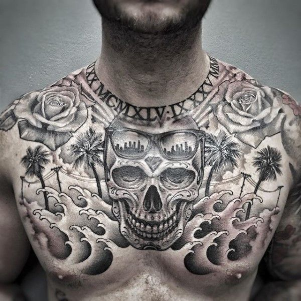 Skull California Mens Upper Chest Tattoo Designs Cool Chest Tattoos Tattoos For Guys Chest Tattoo Men