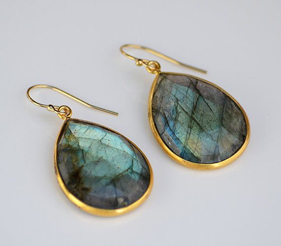 WT-E189 Wholesale natural glaring labradoite stone  dangle earring,fashion teardrop gold plated earring by WKTjewelry on Etsy