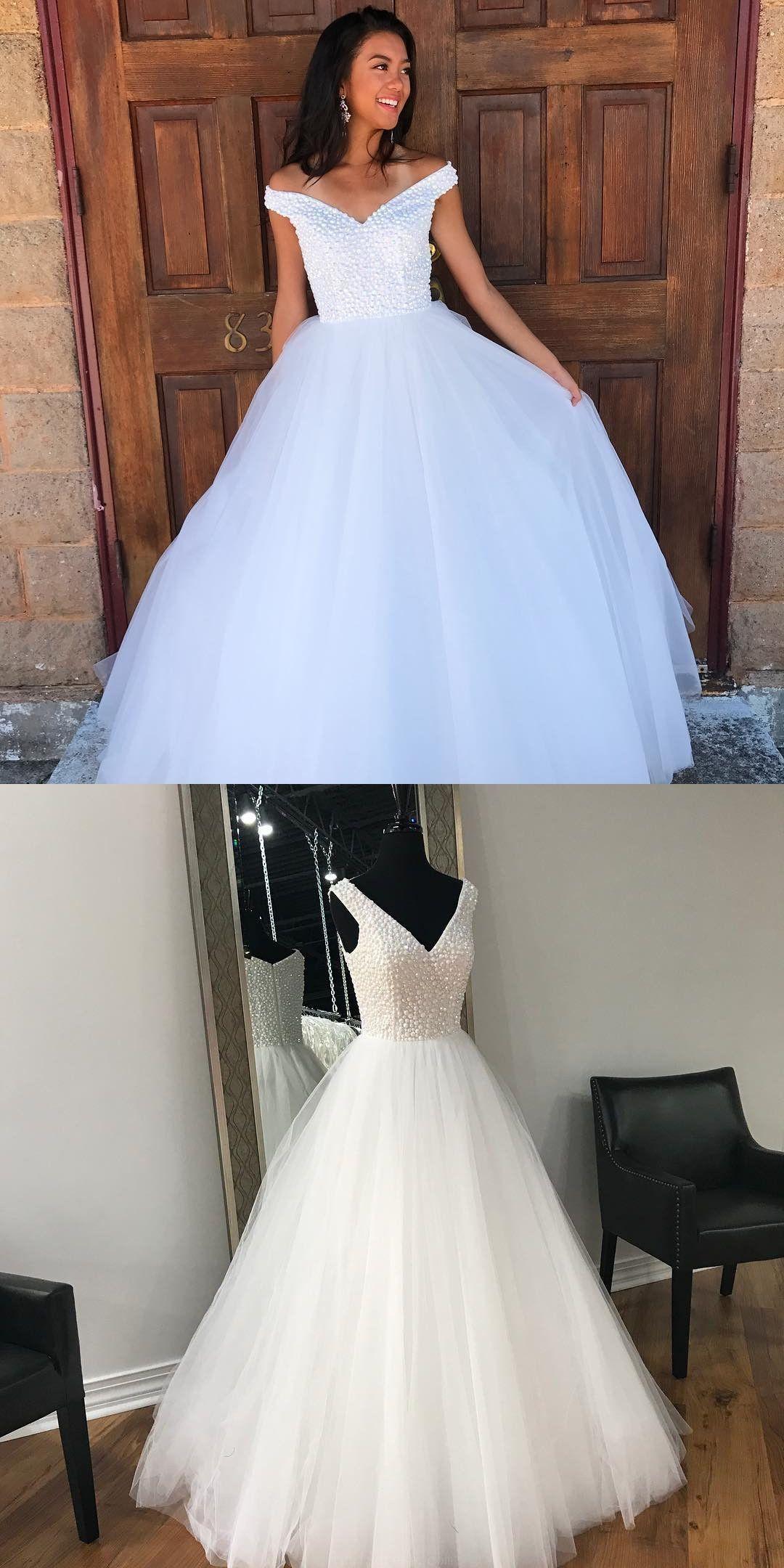 e80ff3f4e29 Discount Popular Prom Dresses 2019 Elegant V Neck Beaded White Long ...