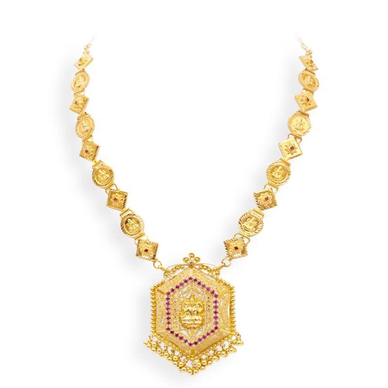 Mom and Me   Handmade Traditional Lakshmi Kasu Gold Necklace   GRT ...