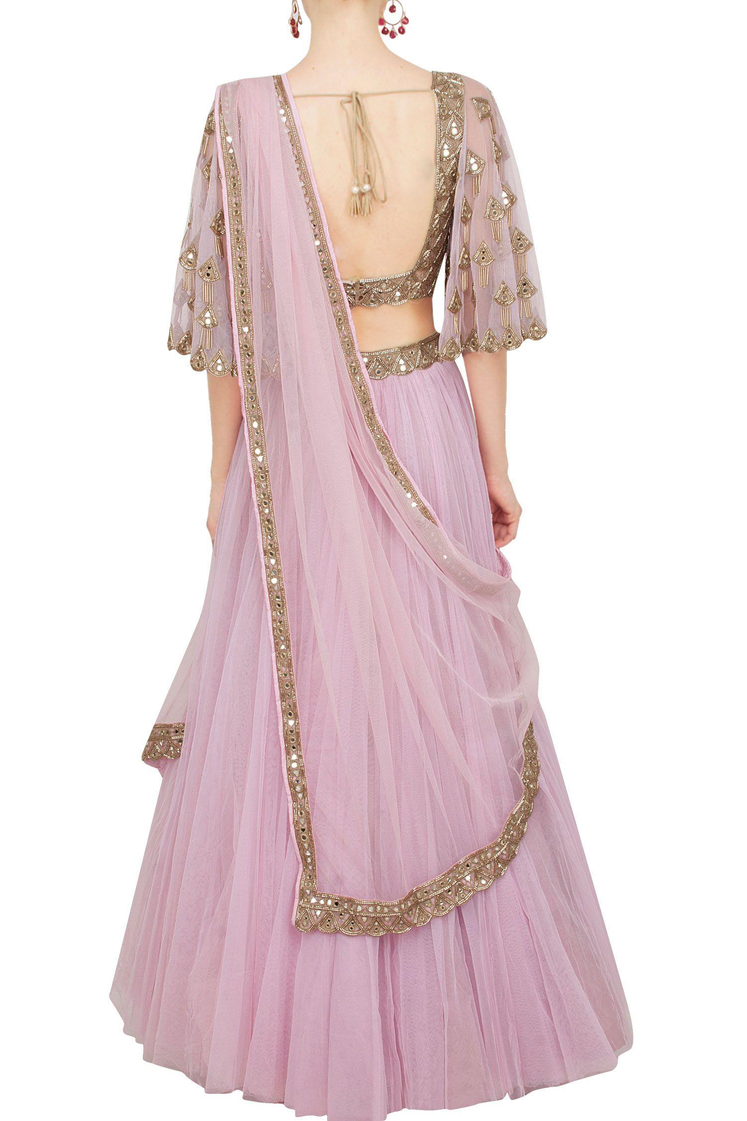 ab6412c0eb16f2 Rose pink lehenga and bell sleeves blouse set | Lehenga designs ...