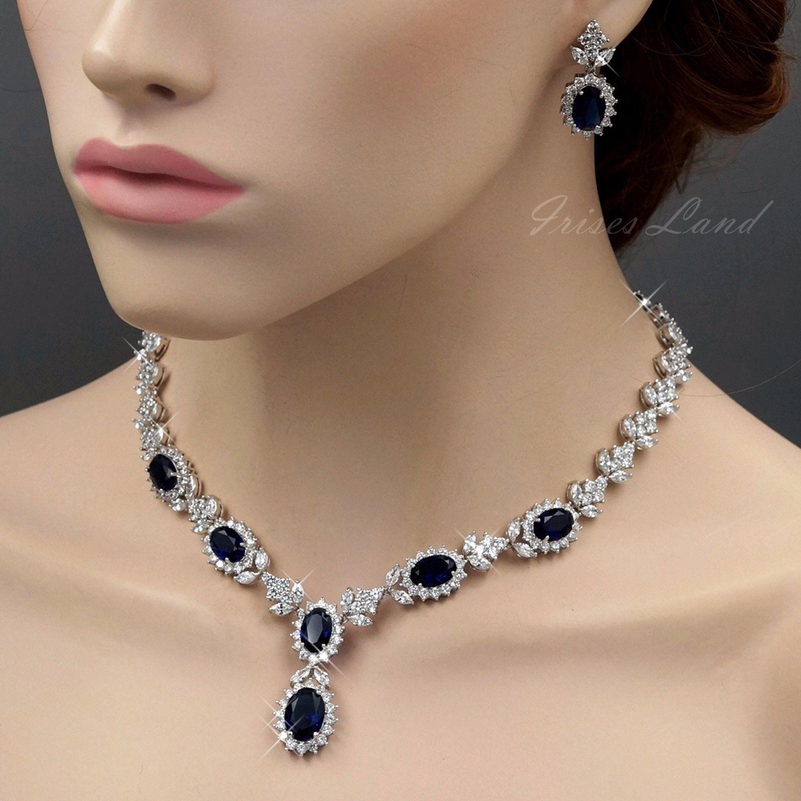 K white gold gp sapphire zirconia cz necklace earrings wedding
