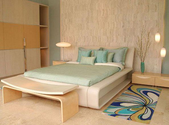 Dormitorio matrimonial con colores de playa muy comodo y for Habitaciones juveniles funcionales