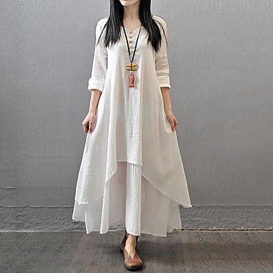 Kadin S Buyuk Bedenler Cin Stili Pamuklu Salas A Sekilli Salas Elbise Solid Coklu Katman Maksi Beyaz Goruntuler Ile Elbise Elbiseler Maksi Elbiseler