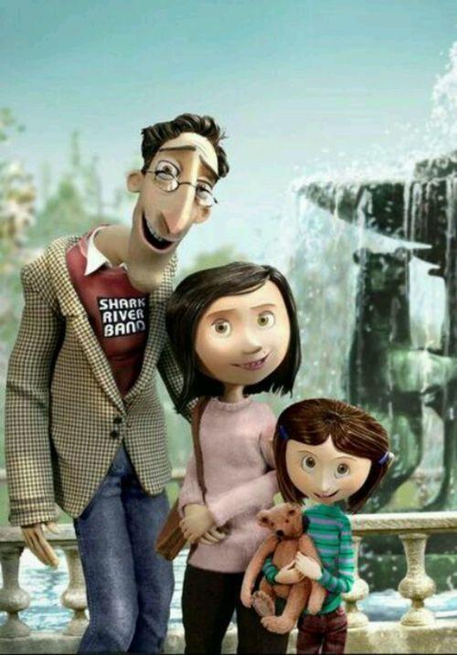 Coraline Family Photo 영화 포스터 복고 산호