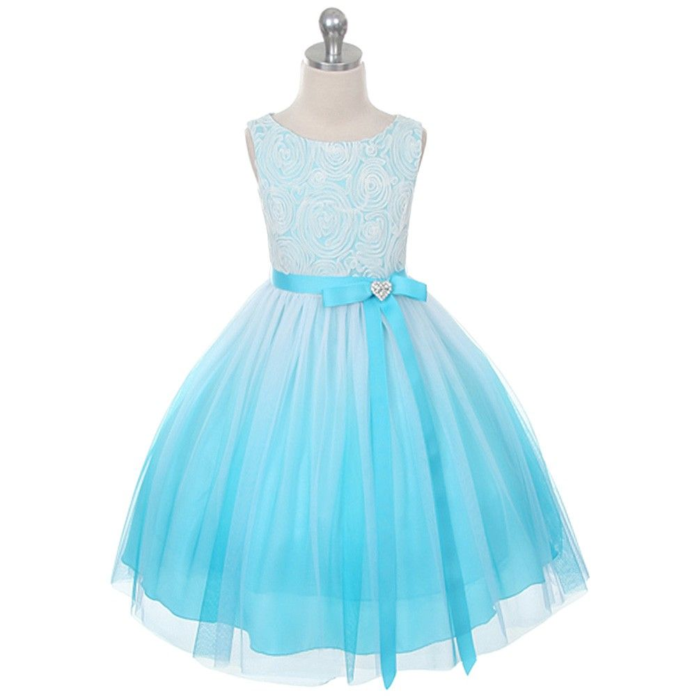 Kids Dream Little Girls Turquoise Ombre Rosette Special Occasion ...