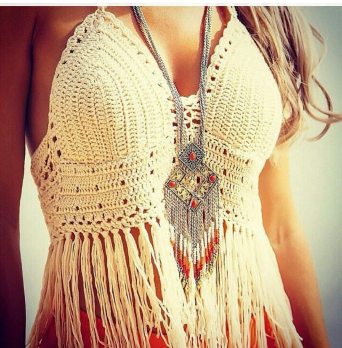 Pin de Silvana Millicay en crochet | Pinterest | Remeras con flecos ...