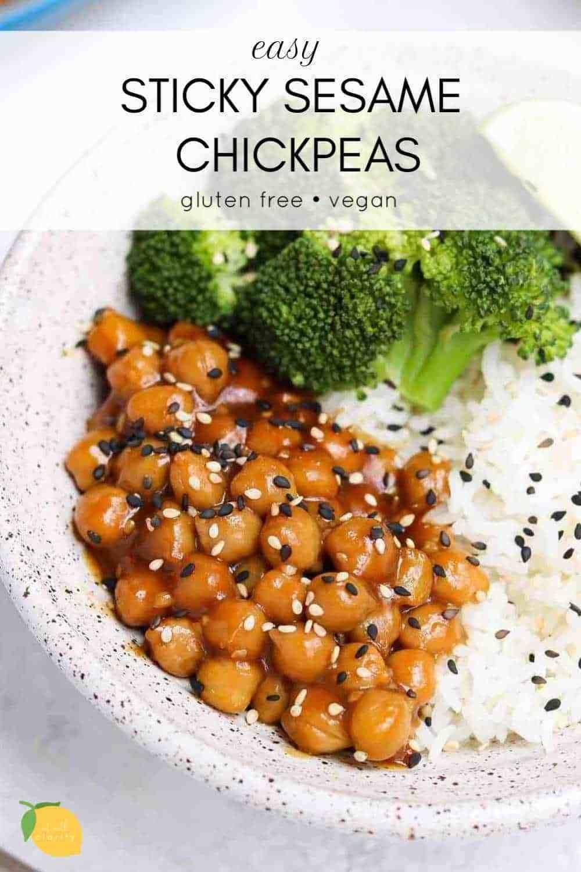 Vegan Sticky Sesame Chickpea Recipe Eat With Clarity Recipe Chickpea Recipes Chickpea Recipes Easy Vegan Chickpea Recipes