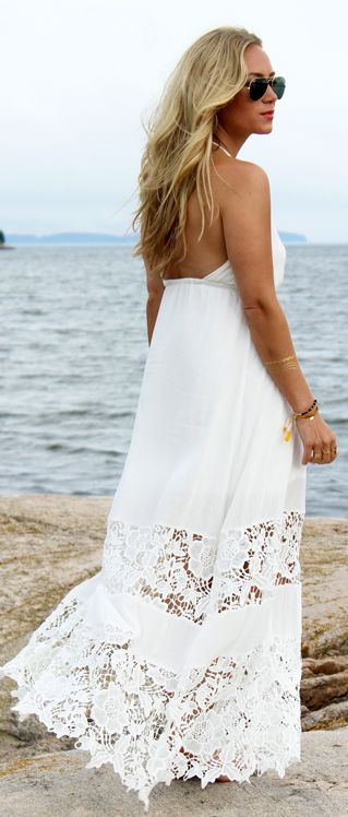 Style Cusp White Crochet Travel Maxi Dress