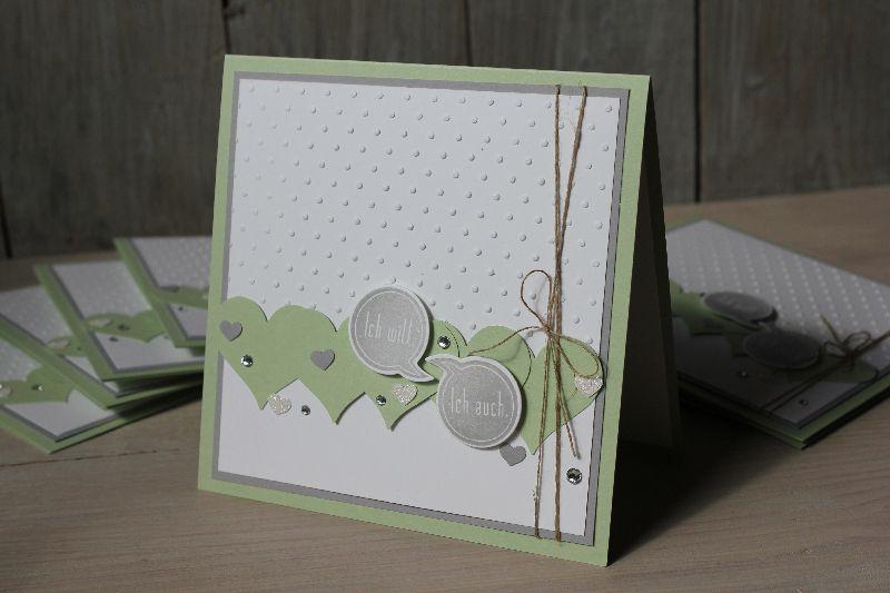 Hochzeitskarte Pistazie, Bild1, gebastelt mit Produkten von Stampin' Up!