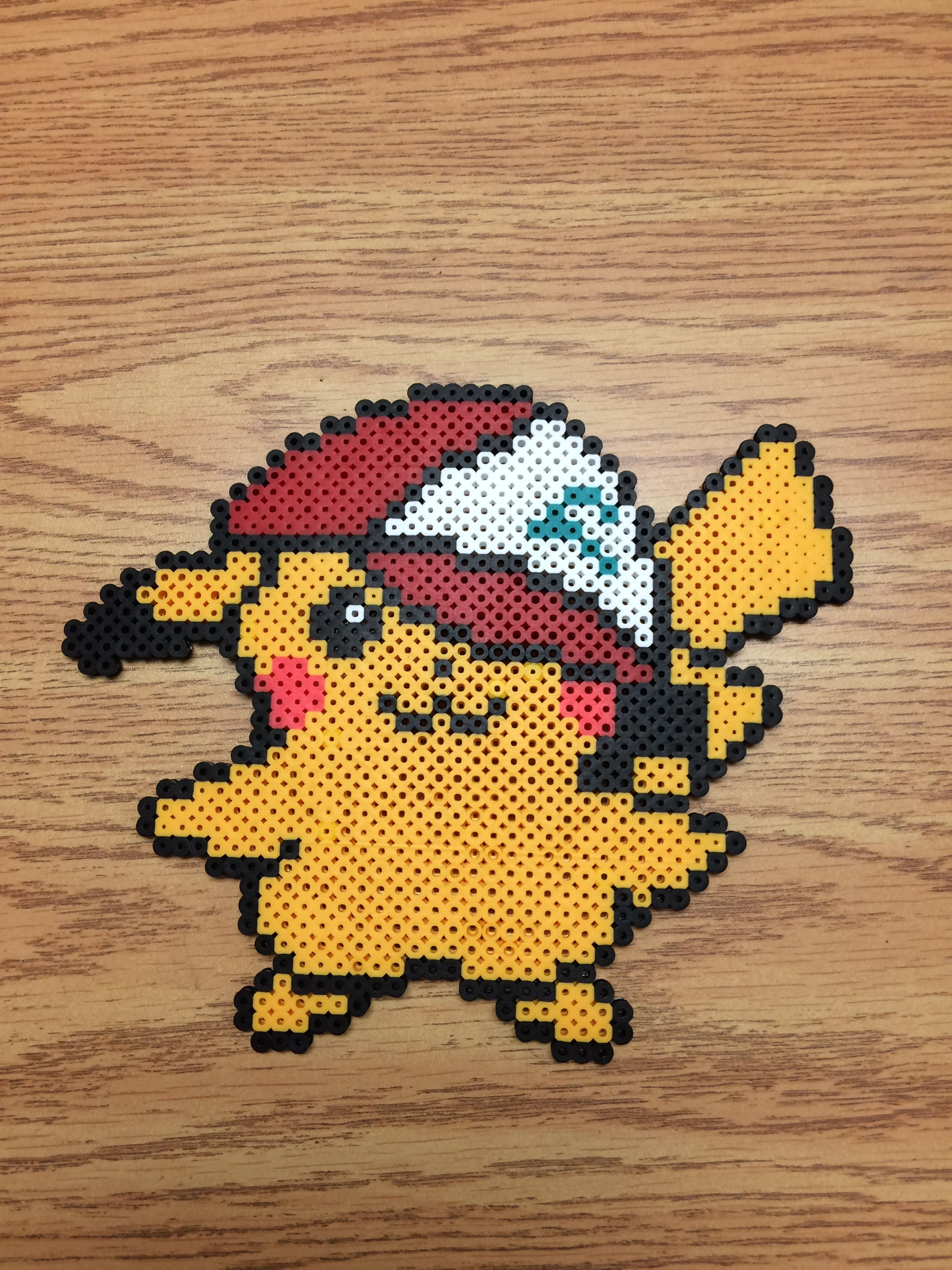 Perler bead Pikachu with Ash's hat   Pixels art   Pokemon