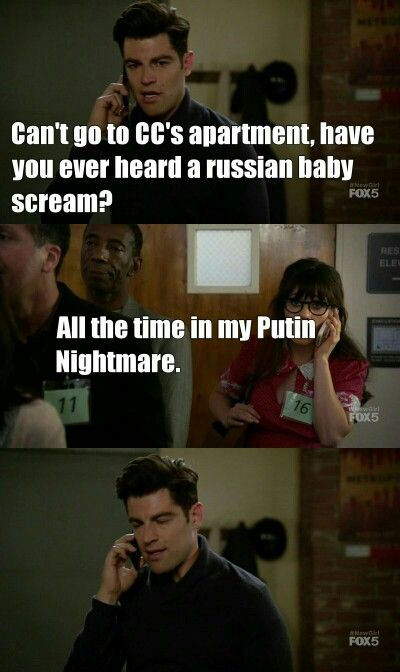 All The Time In My Putin Nightmare Jess And Schmidt Newgirl New Girl Funny New Girl Hooray For Hollywood
