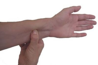 This point is located on the #palm side of the hand, three #finger widths above the wrist crease, in the middle of the #arm.