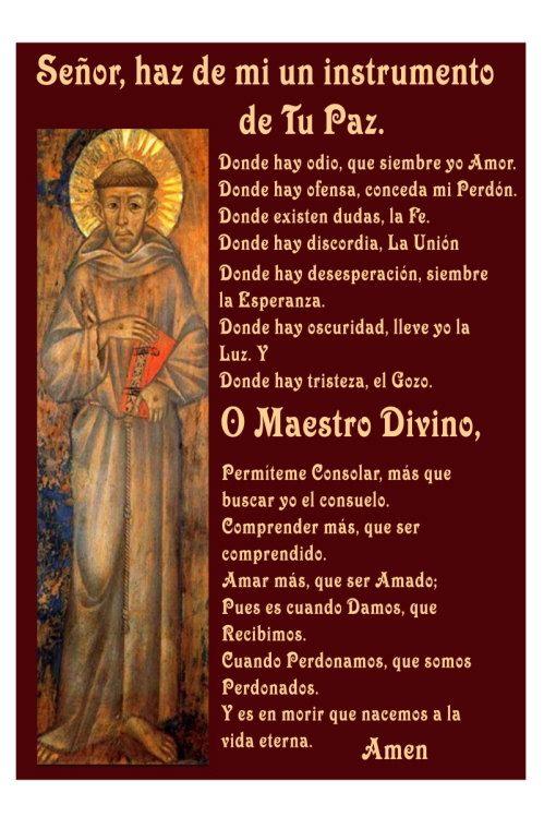 Oracion De San Francisco De Asis En Espanol Instrumento De Oracion De San Francisco Oraciones Oraciones Catolicas